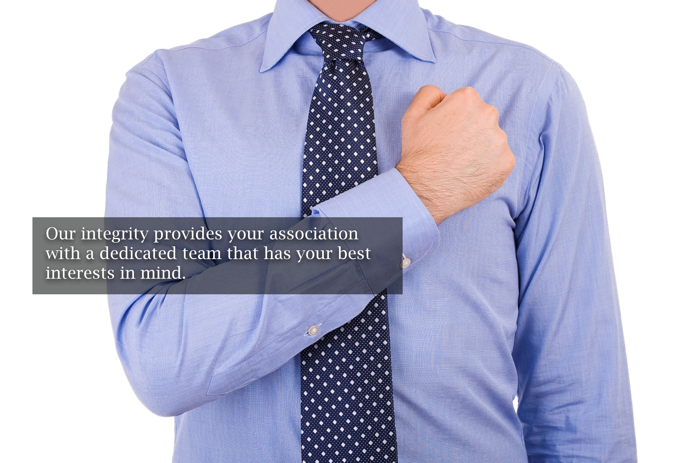 man with fist over heart for integrity in association management