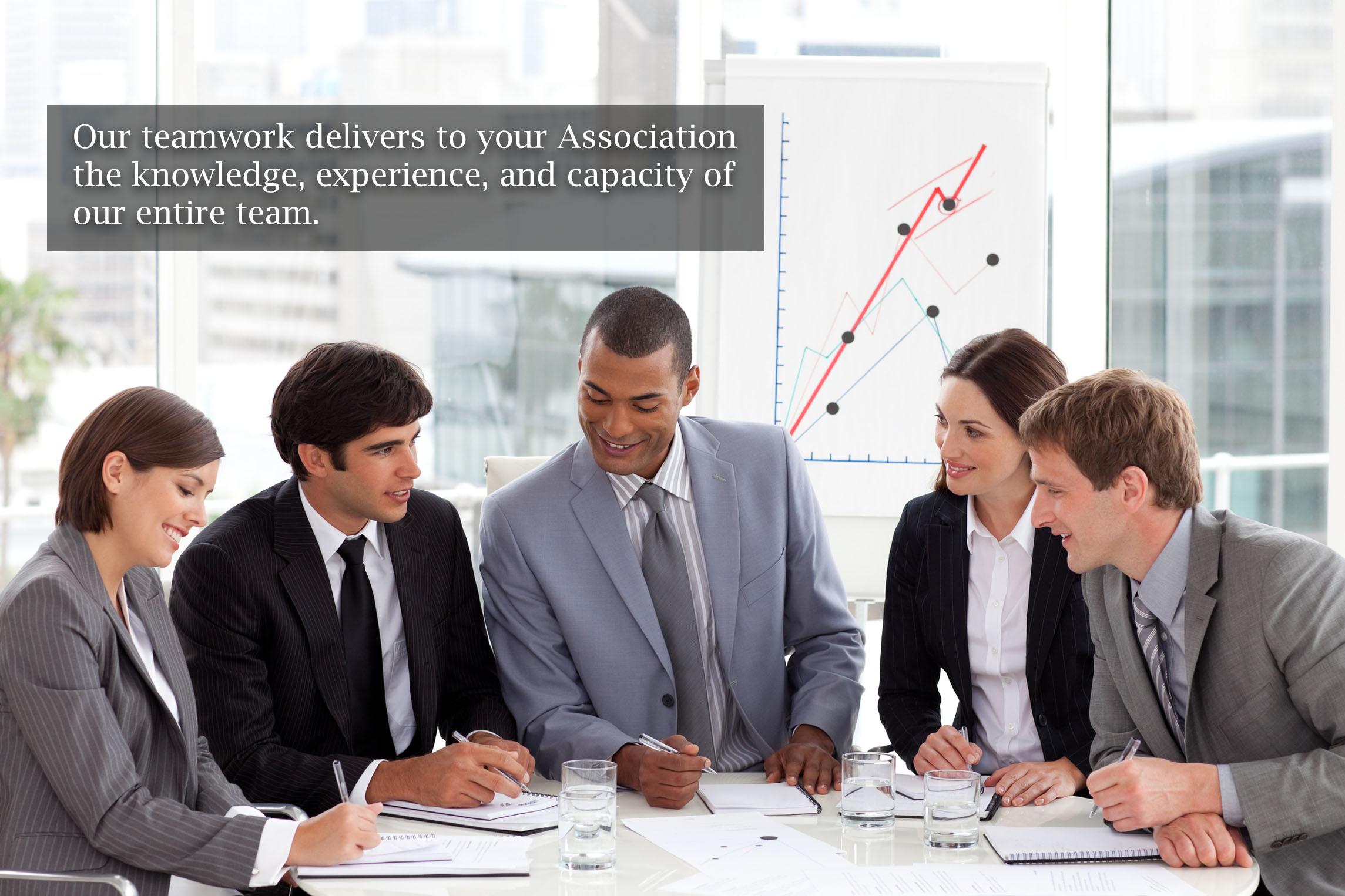 association management employees using teamwork in meeting
